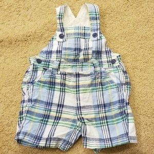 Baby gap plaid overall shorts